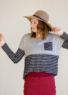 Colorblock Long Sleeve Striped Top - FINAL SALE
