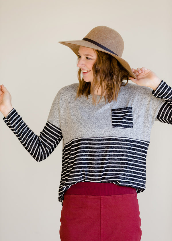 Inherit Co.  | Modest Women's Tops | Colorblock Long Sleeve Striped Top