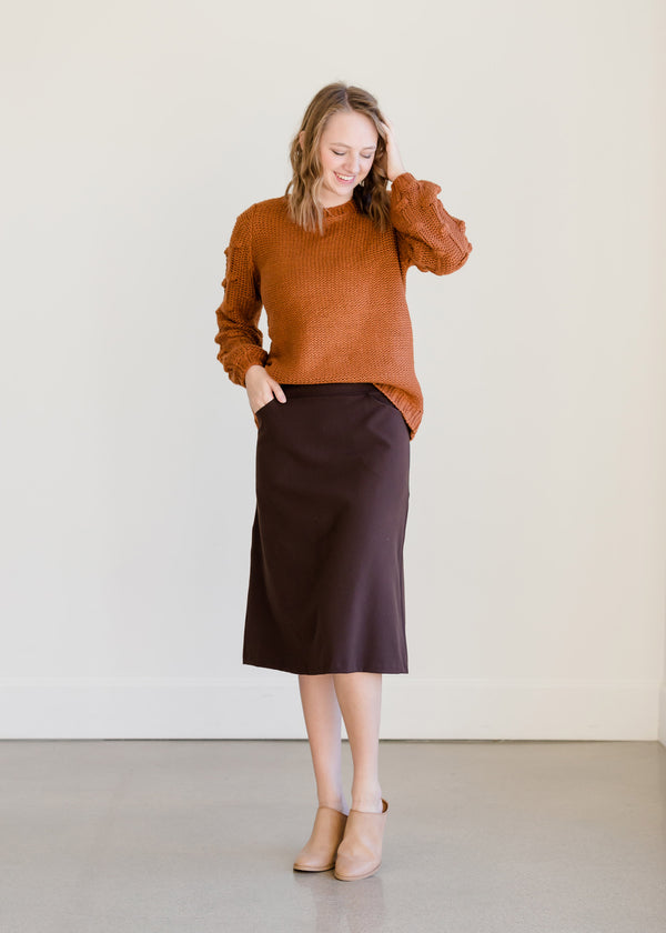 Inherit Co.  | Modest Women's Skirts | Dressy Back Zip Midi Skirt