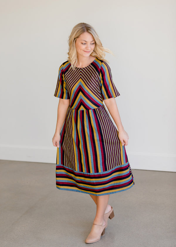 Inherit Co.  | Women's Modest Dresses | Multi Color Striped Midi Dress