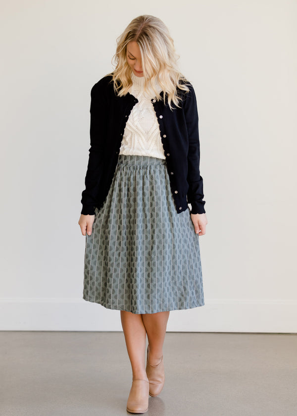 Inherit Co.  | Modest Women's Skirts | Gray Print Below the Knee Skirt