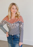 Inherit Co.  | Modest Women's Tops | Colorblock Crewneck Animal Print Knit Top