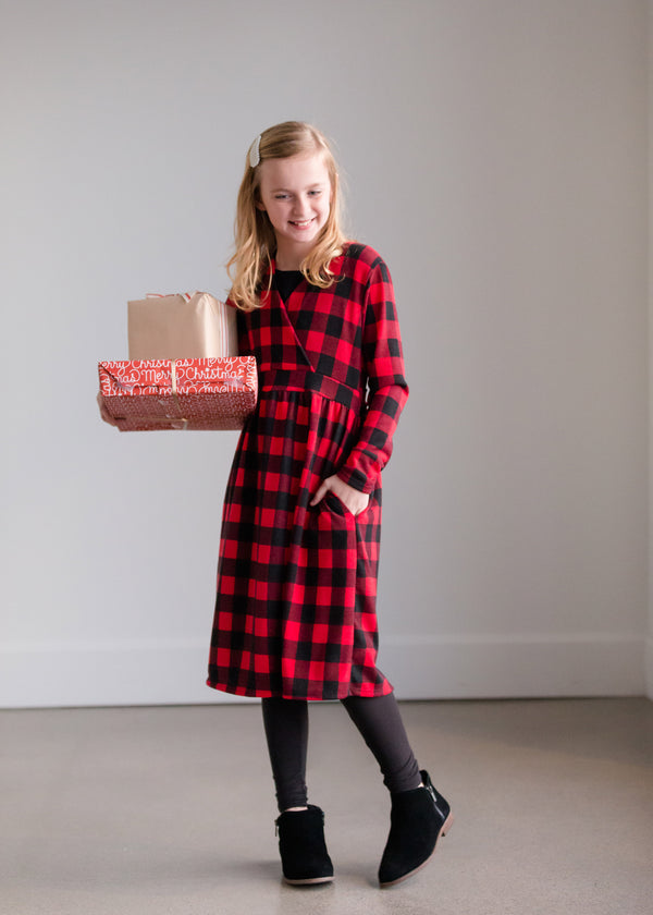 Inherit Co.  | Women's New Arrivals | Red Buffalo Check Midi Dress
