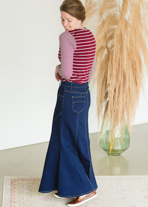 A-line Contrast Stitched Long Denim Skirt