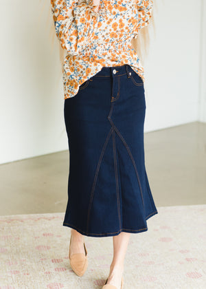 Dark Denim A-Line Contrast Midi Skirt