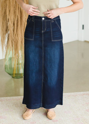 Belted Patch Pocket Long Denim Skirt
