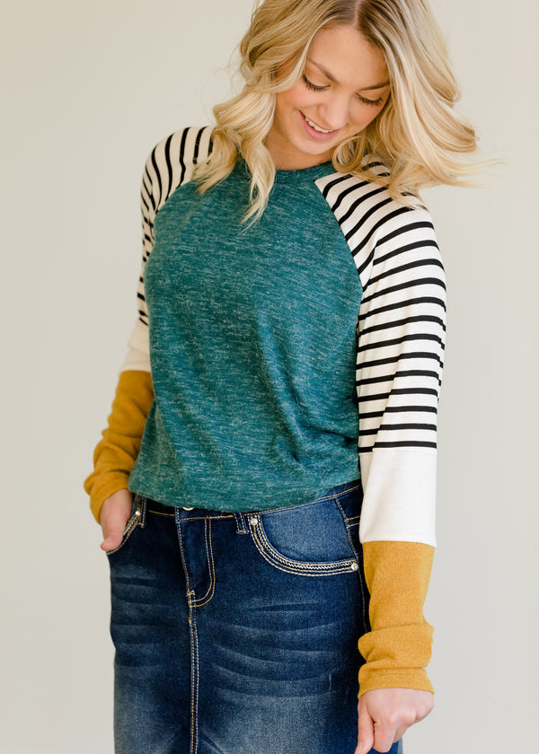 Inherit Co.  | Women's New Arrivals | Colorblock Striped Raglan Top