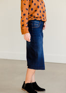 Raw Hem Dark Denim Jean Skirt - FINAL SALE