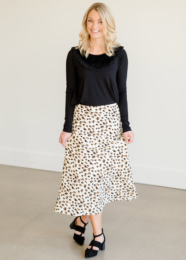 Inherit Co.  | Modest Women's Skirts | Side Zip Leopard Midi Skirt