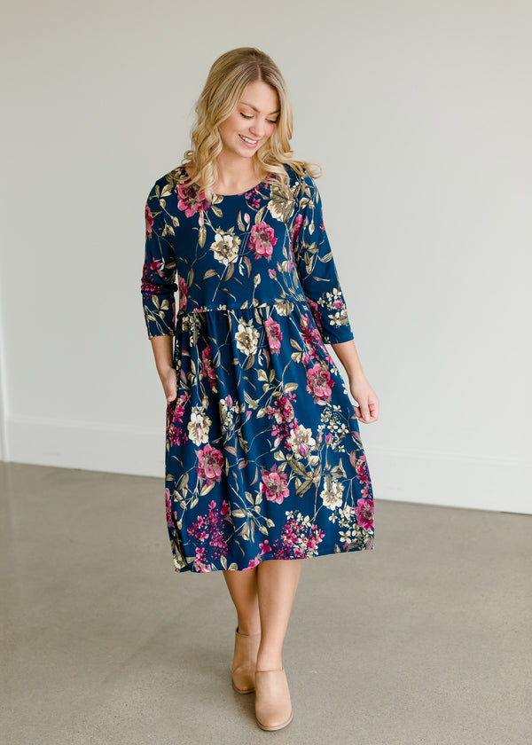 Inherit Co.  | Women's New Arrivals | Floral Peplum Midi Dress