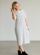 Gray Striped Textured Midi Dress - FINAL SALE