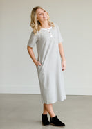 Inherit Co.  | Women's Modest Dresses | Gray Striped Textured Midi Dress