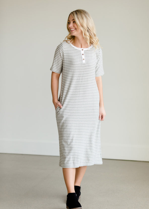 Inherit Co.  | Women's New Arrivals | Gray Striped Textured Midi Dress