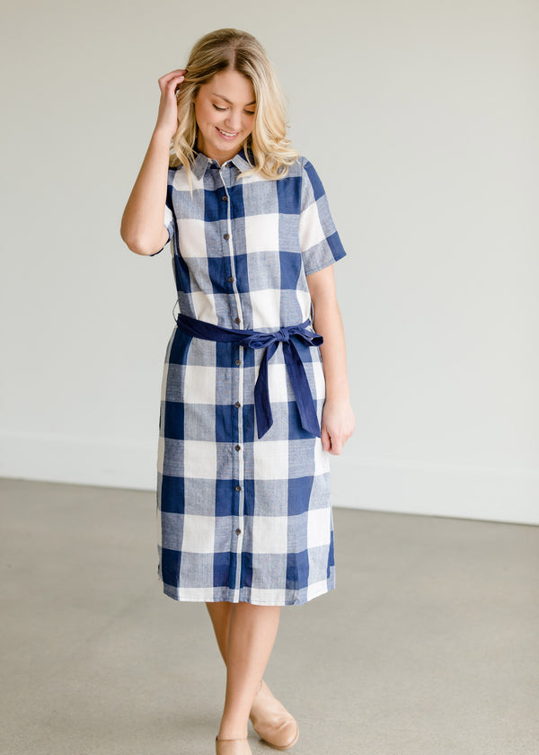 Inherit Co.  | Women's Modest Dresses | Buffalo Check Blue Button Midi Dress