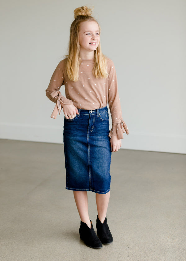 Inherit Co.  | Women's New Arrivals | Button Pocket Midi Denim Skirt