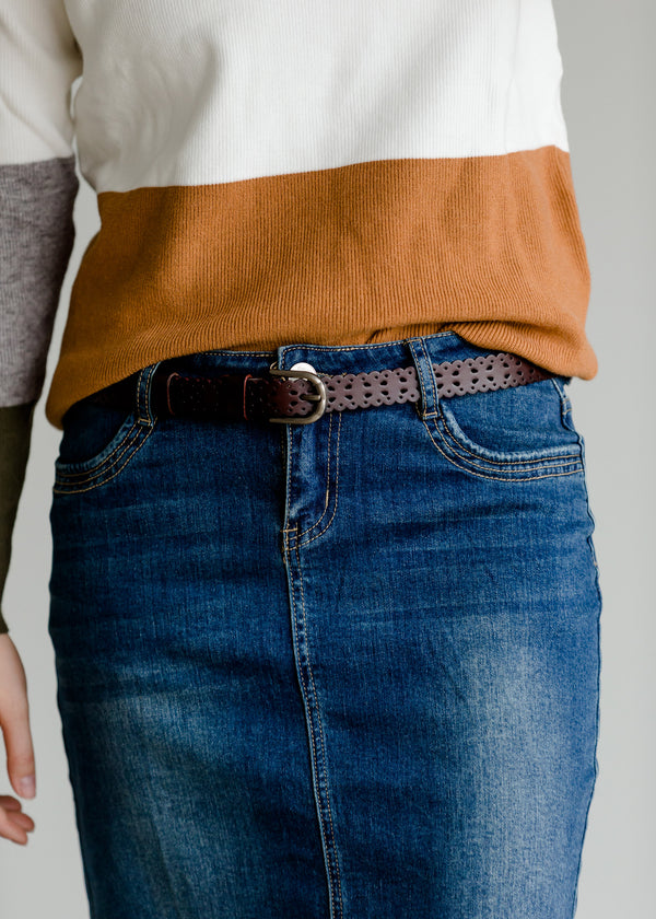 Inherit Co.  | Women's Accessories | Ornate Skinny Leather Belt