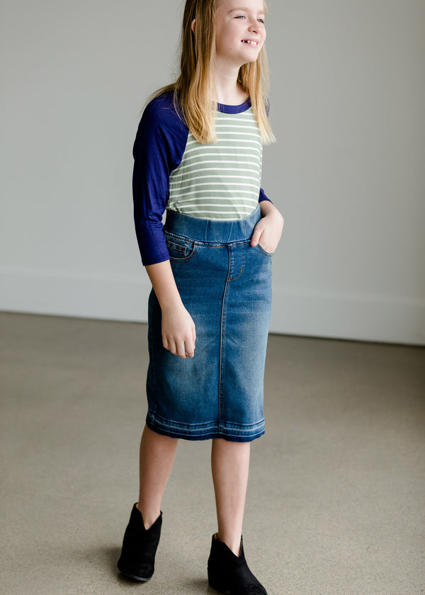 Inherit Co.  | Women's New Arrivals | Stretch Vintage Denim Midi Skirt