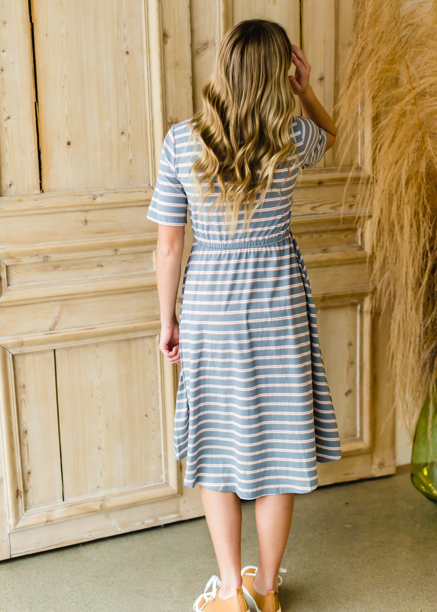 Dusty Blue Striped Knit Midi Dress