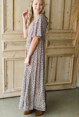 Inherit Co.  | Maxi Dresses | Tiered Black Floral Print Maxi Dress - FINAL SALE |