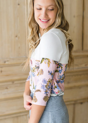 Blush Colorblock Floral Striped Top