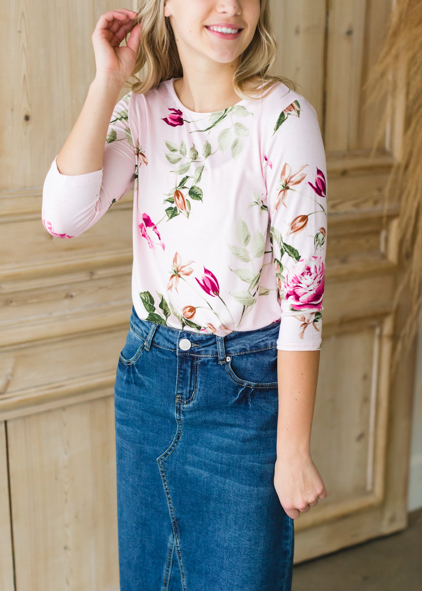 Blush Floral 3/4 Sleeve Top