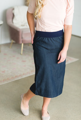 Inherit Co.  | Amy's Birthday Sale! | Sky Drawstring Waist Chambray Denim Midi Jean Skirt |