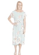 midi length floral dress with elastic waist that comes in blush, mint or navy florals.