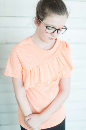 Girls Solid Ruffle Tee