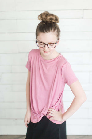 Girls Modest Side Tie Solid Tee