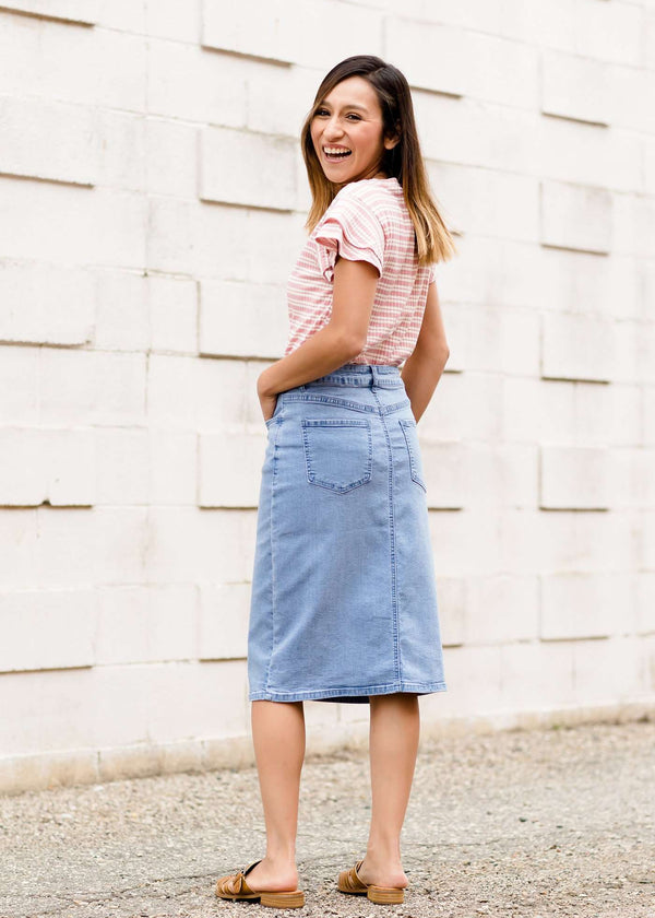 light denim modest midi skirt