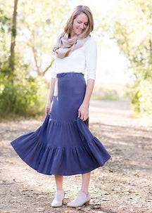 Ruffle Knit Tiered Skirt