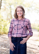 Mauveberry Plaid Top