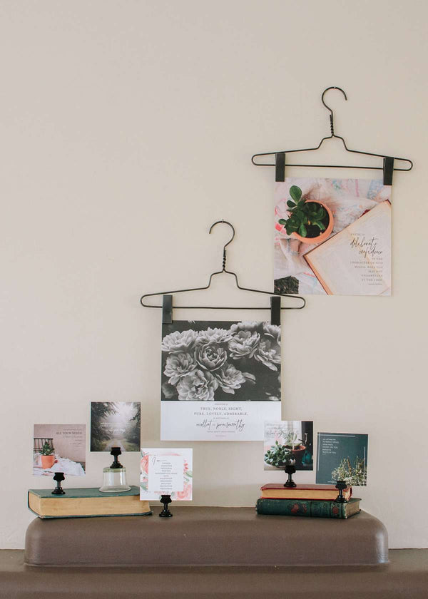 Wire Hanger Wall Decor with inspirational prints