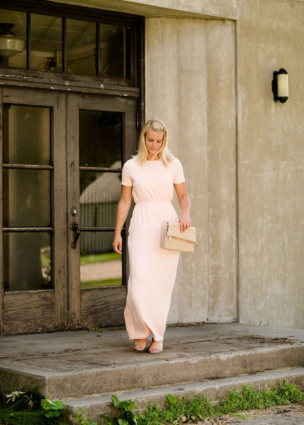 Inherit Co.  | Modest Plus Size Clothing | Cambrie Maxi Dress - FINAL SALE | Modest women's maxi dress in peach, navy or black. 2 hidden side seam pockets, elastic waist and short sleeves.