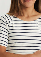 Muted Boat Neck Striped Tee-FINAL SALE