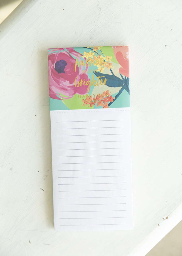 Brighter Than Your Fears Pink Floral Magnetic Notepad