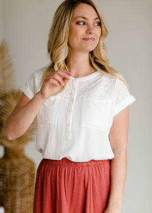 Ivory Woven Short Sleeve Top