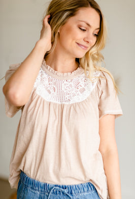 Inherit Co.  | Modest Women's Best Sellers | Multi Color Embroidered Ruffle Top - FINAL SALE |