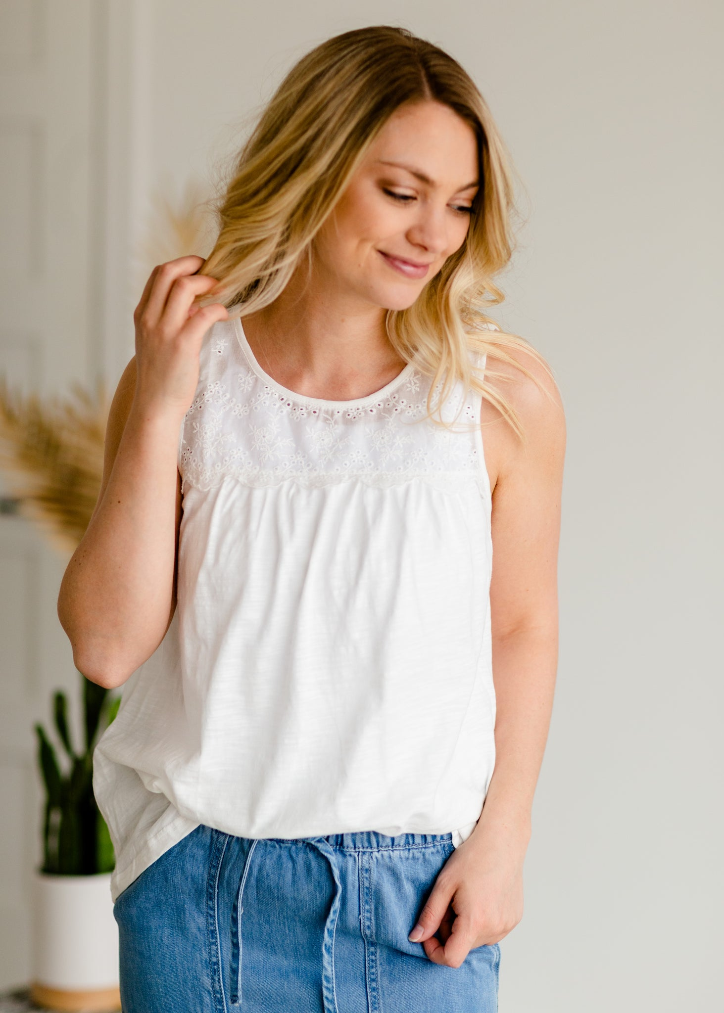 Eyelet Sleeveless Top