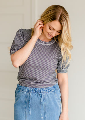 Gray Pinstripe Puff Sleeve Top