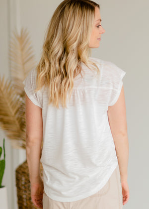 Ivory + Chambray Tie Neck Tee