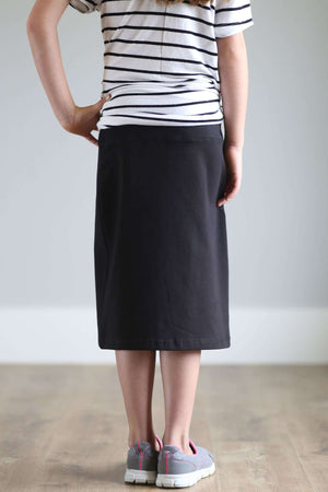 'Kiera' Knit Below the Knee Length Skirt for Girls in Black