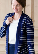 Inherit Co.  | Teacher Stripe Open Front Cardigan-FINAL SALE | woman wearing a navy and white striped open front cardigan