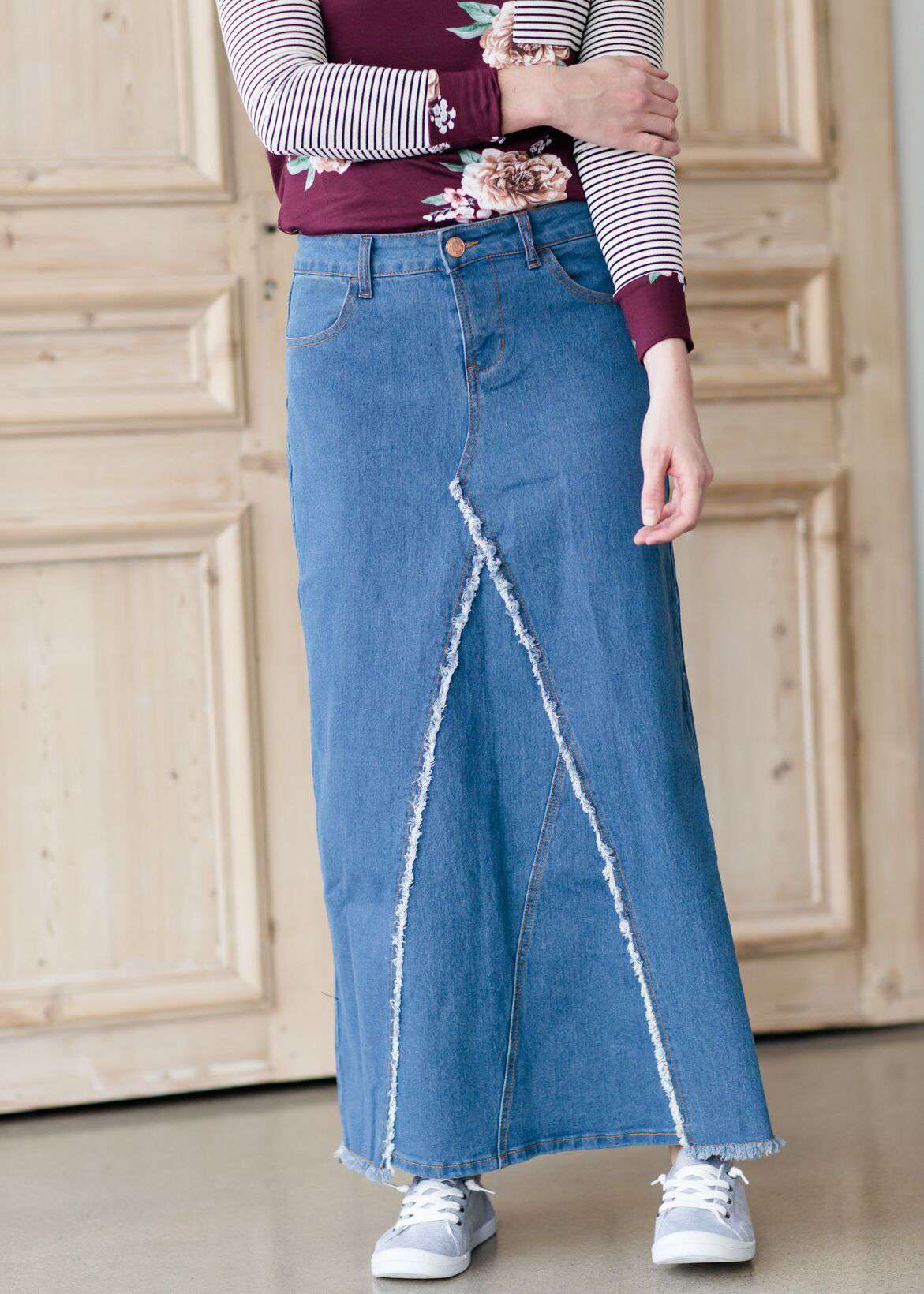 000406c990 woman wearing an a-line modest long denim skirt with fringe detail and no  slit. Share: Share on Facebook Tweet on Twitter Pin on Pinterest