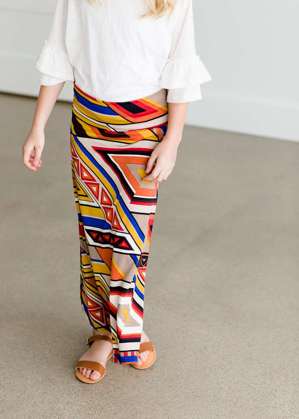 Inherit Co.  | Rhythmic Multi Color Maxi Skirt - FINAL SALE | Girl wearing a modest maxi dress that is multi color and stretchy
