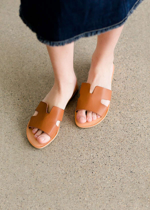 Slip on tan or white sandals