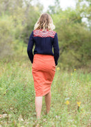 Burnt orange modest midi skirt