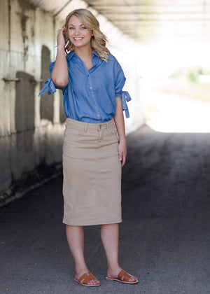 women's light khaki midi jean skirt