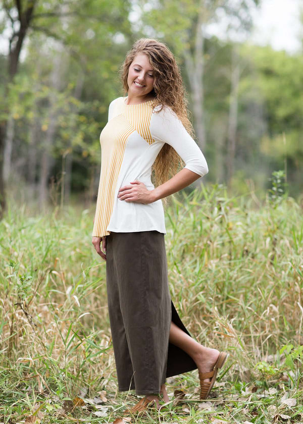 Inherit Co.  | Stella Olive Long Denim Skirt | women's long colored denim maxi skirts