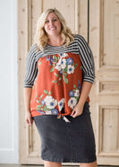 Women's plus size striped floral top